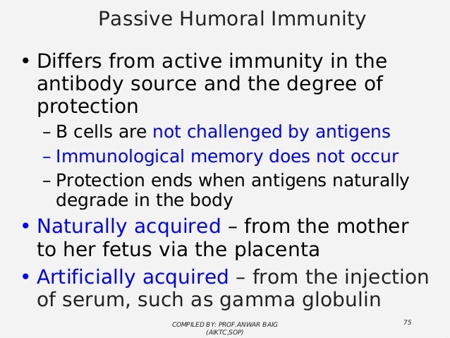 artificially acquired active immunity example
