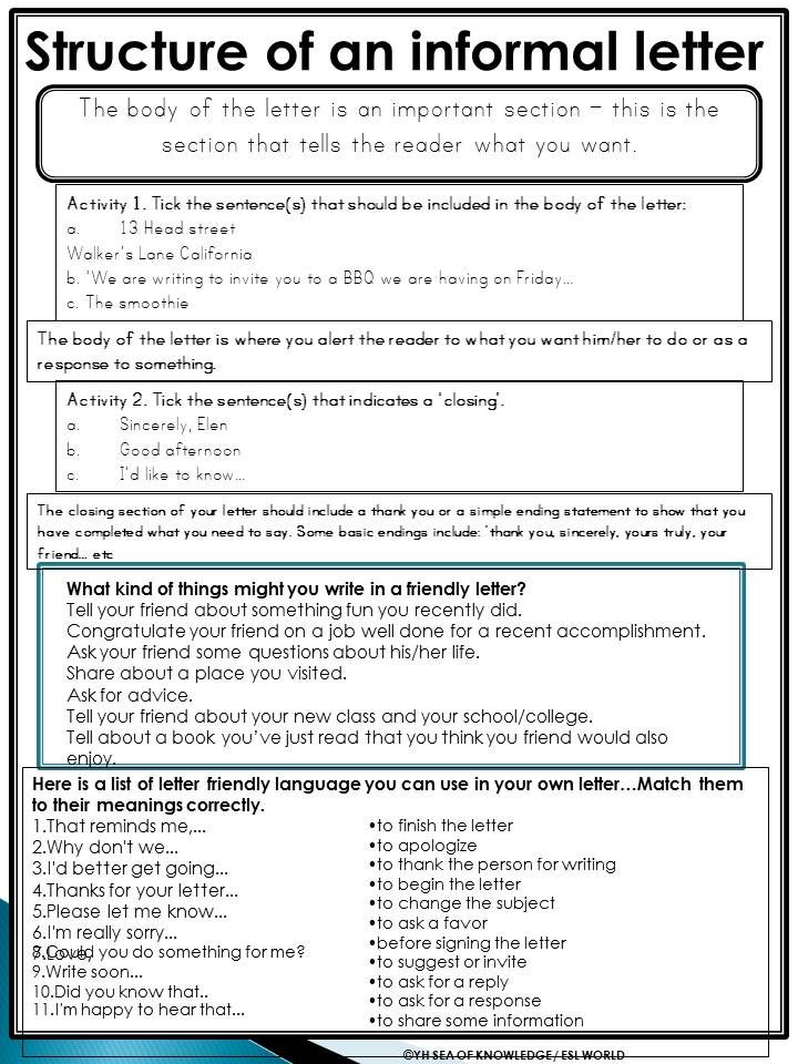 informal letter in english example