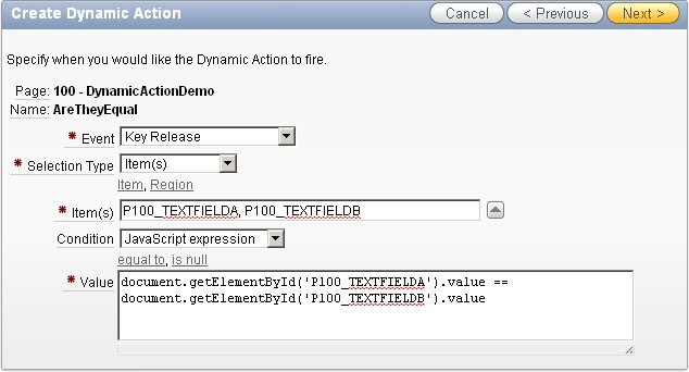 oracle apex dynamic action javascript expression example