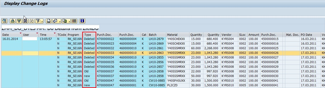 how to see log table with example
