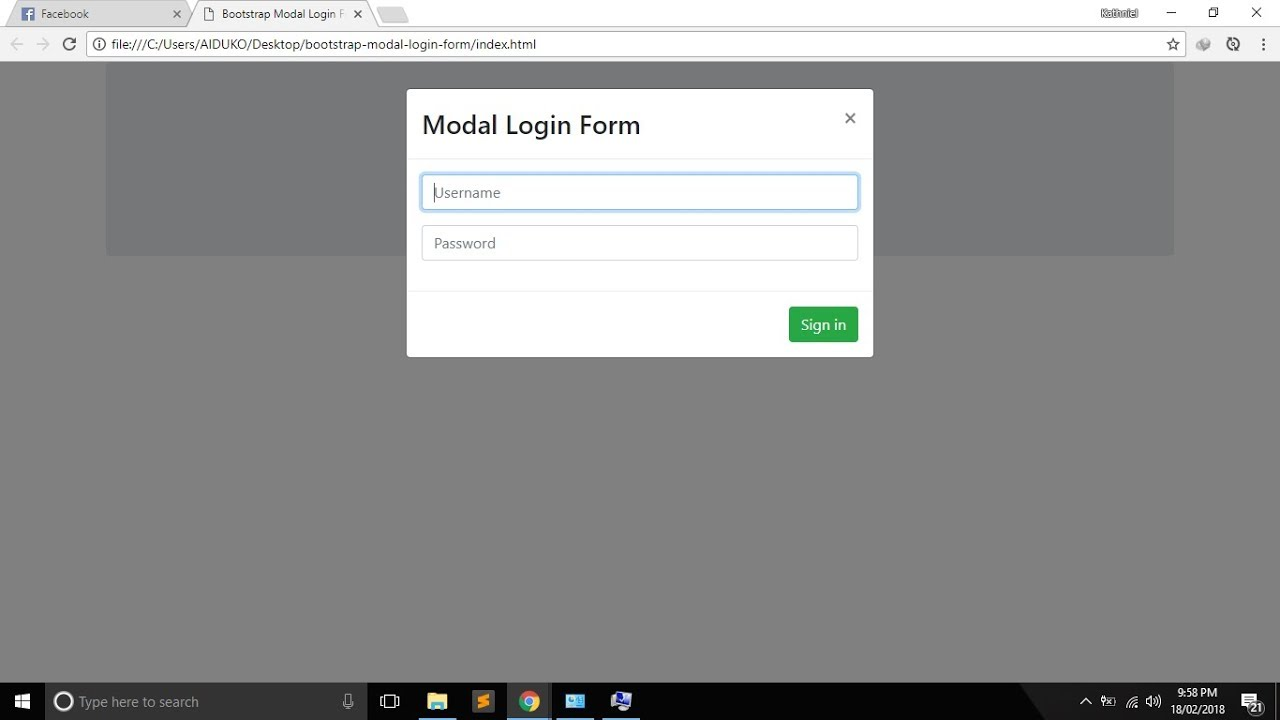 bootstrap modal popup on page load example