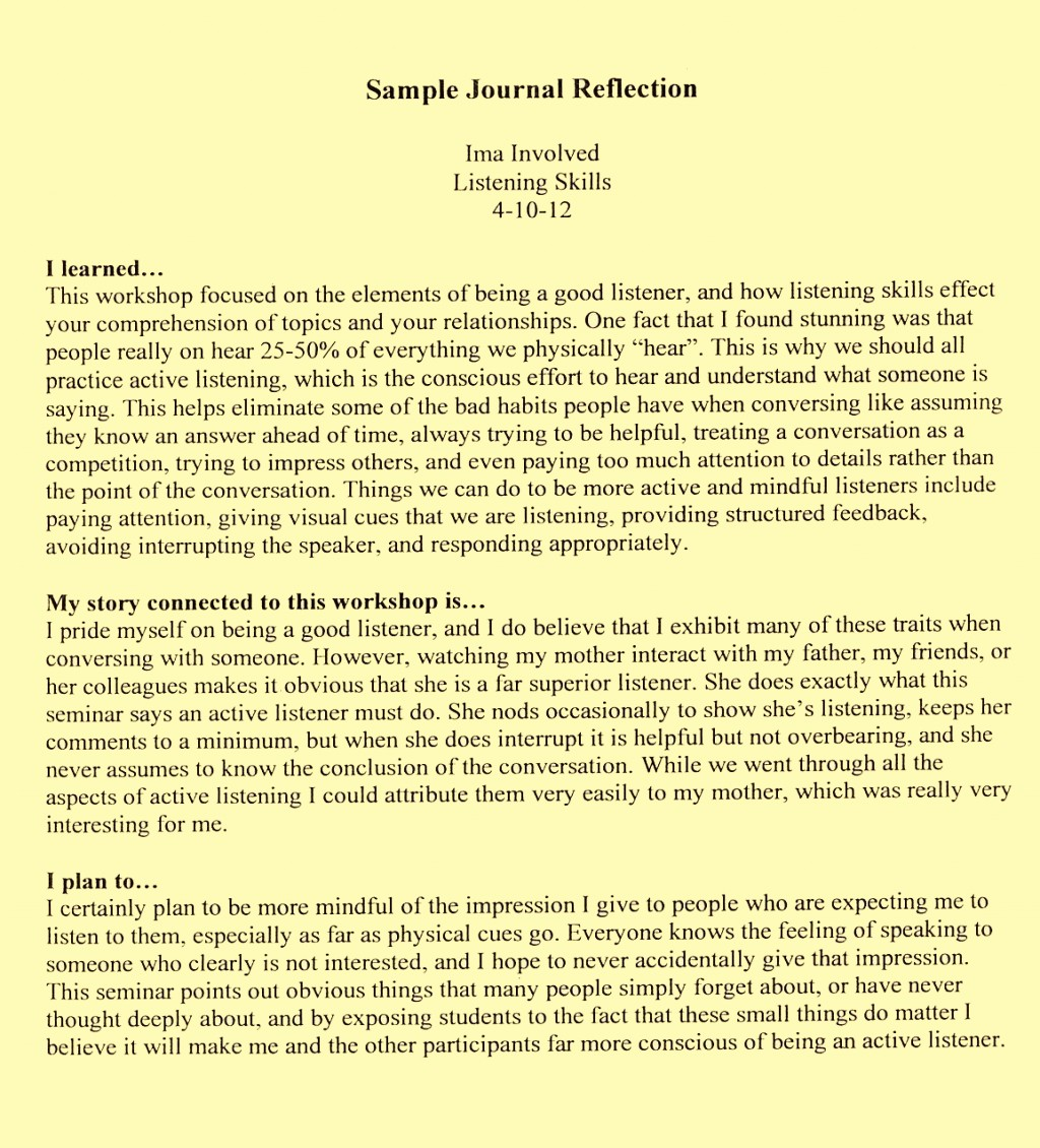 how to write a critical reflective essay example