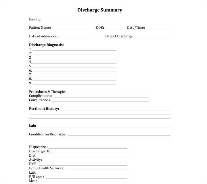 example of discharge planning for post surgical patients
