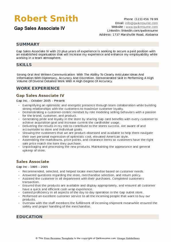 example of duties and responsibilities of sale associate