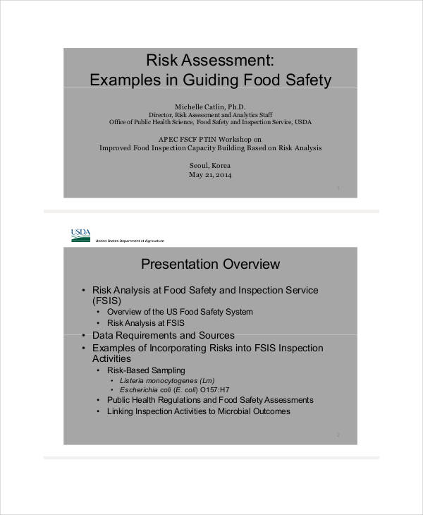 food safety risk assessment example