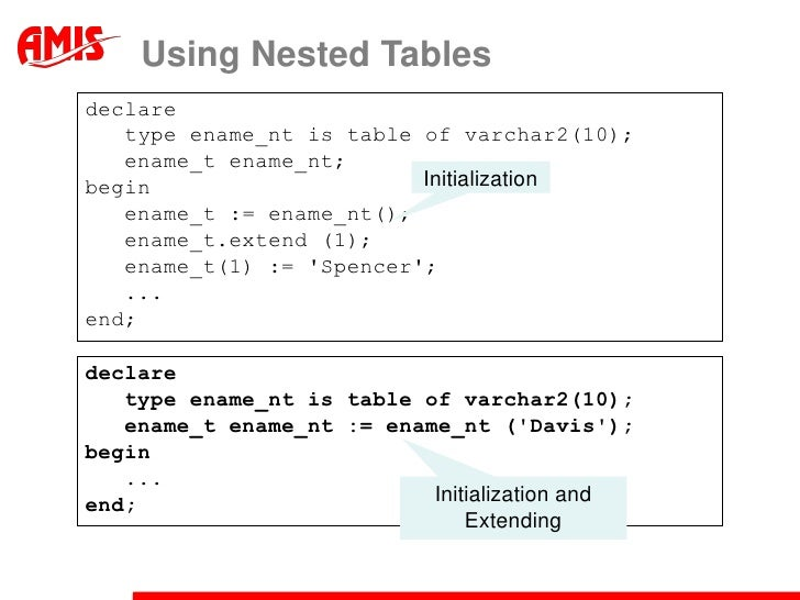pl sql collection type example